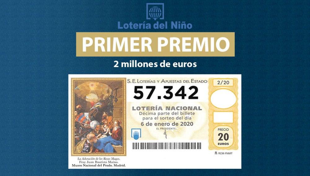 Primer premio de la Lotería del Niño 2020