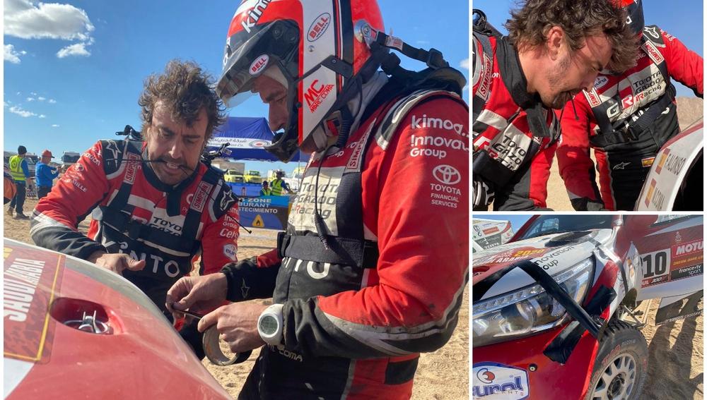 Fernando Alonso y Marc Coma reparan el Toyota