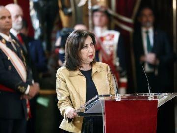 Margarita Robles habla durante la Pascua Militar.