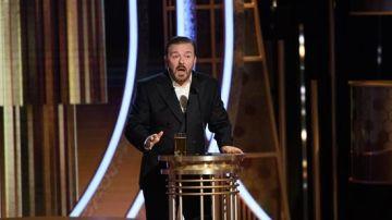 Ricky Gervais durante su discurso de los Globos de Oro 2020