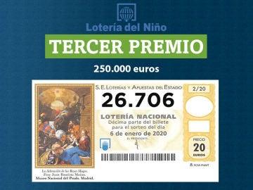 Tercer premio de la Lotería del Niño 2020