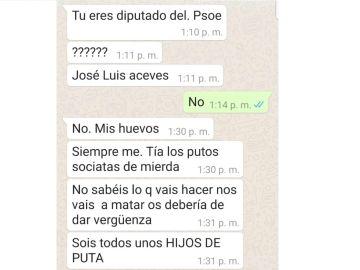 Las amenazas recibidas por Aceves a través de Whatsapp