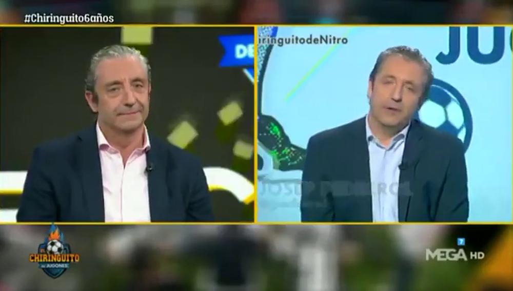 """Josep Pedrerol alucina en 'El Chiringuito' tras ver su cambio en estos seis años: """"Uff... casi mejor ahora, ¿no?"""""""