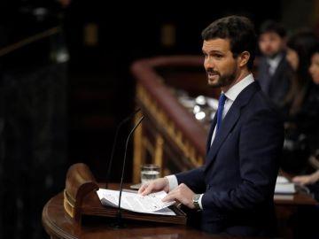 El líder del PP, Pablo Casado, durante su intervención