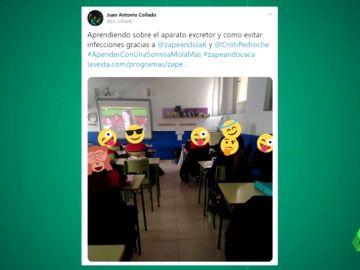Un profesor da clase con un vídeo de Zapeando