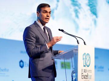 Pedro Sánchez durante su intervención en la inauguración del X Foro Exceltur