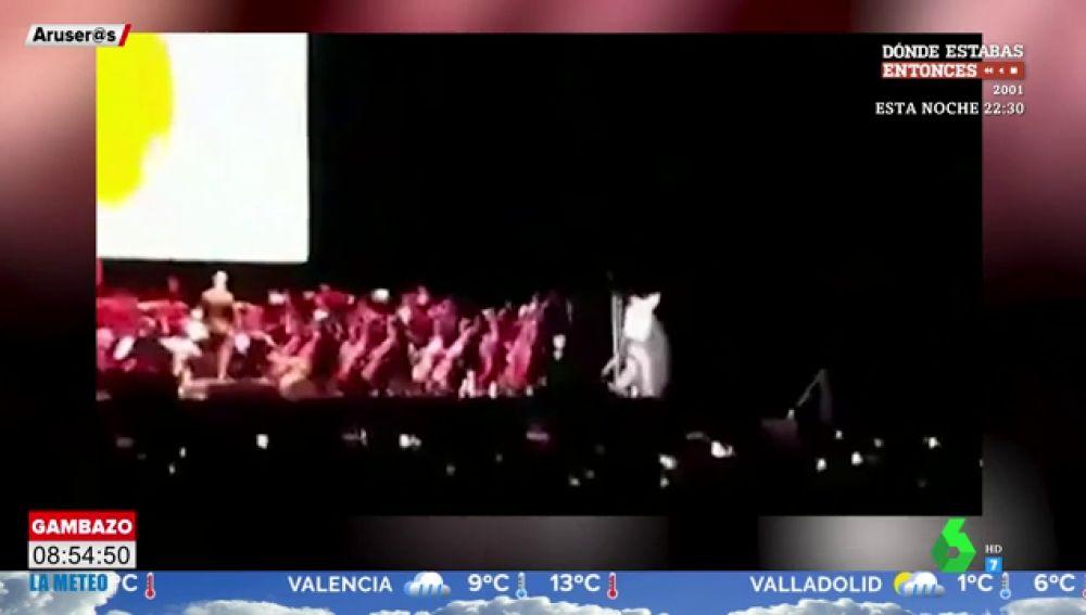La espectacular caída del cantante de 'Dragon Ball' del escenario del Wizink Center