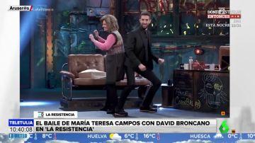 María Teresa Campos, 'desatada' en 'La Resistencia': de los 'dardos' a Bigote Arrocet al perreo con Broncano