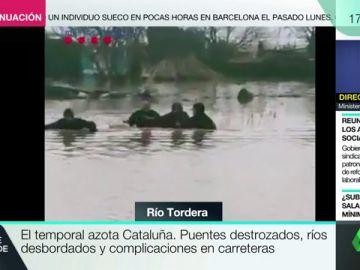 Los Mossos rescatan a un hombre en Malgrat aislado por la crecida del Ter