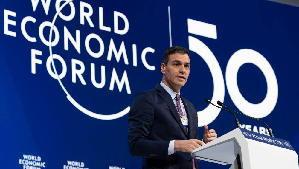 Pedro Sánchez durante su intervención en el Foro Económico Mundial de Davos