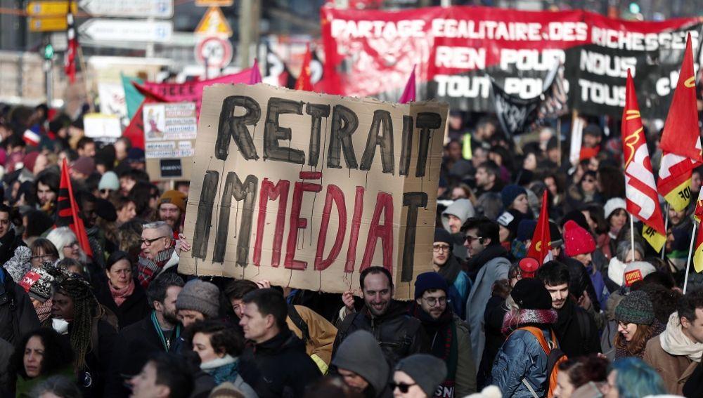 Protestas en París por la reforma de las pensiones