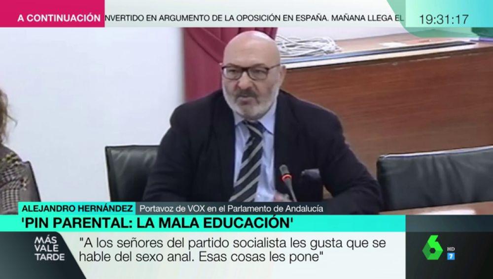 """Alejandro Hernández, portavoz de Vox en Andalucía: """"A los señores del PSOE les gusta que se hable del sexo anal. Les pone"""""""