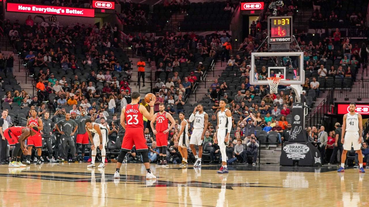 Momento del partido entre los Toronto Raptors y los San Antonio Spurs