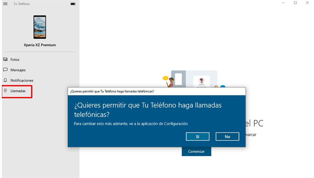 Llamadas a través de Windows 10