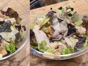 Imagen de la rana muerta encontrada en la ensalada de un restaurante.