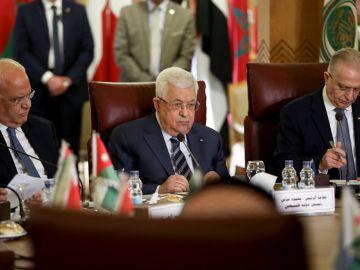 Mahmud Abbas en la sesión extraordinaria de la Liga Árabe para estudiar el plan de paz de Trump