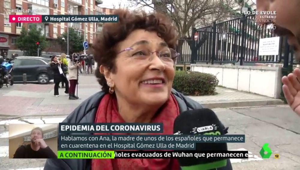 Ana, la madre de uno de los españoles en cuarentena en el Hospital Gómez Ulla de Madrid