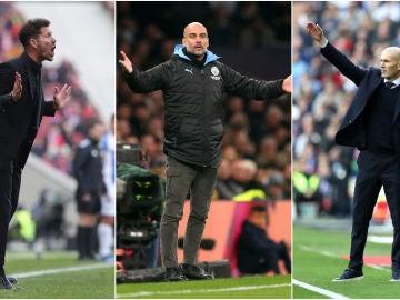 Diego Simeone, Pep Guardiola y Zinedine Zidane