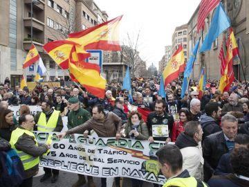 Concentración de la Guardia Civil frente a la delegación del Gobierno en Navarra