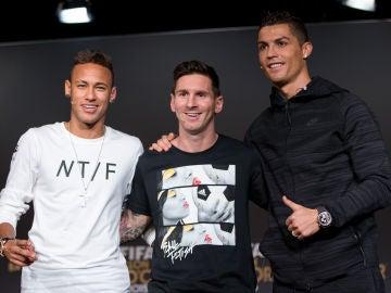 Neymar, Leo Messi y Cristiano Ronaldo
