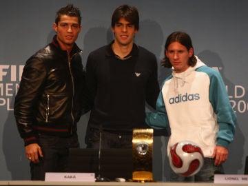 Cristiano Ronaldo, Kaká y Leo Messi.