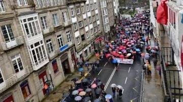 Manifestación convocada por SOS Sanidade Pública en Santiago de Compostela.