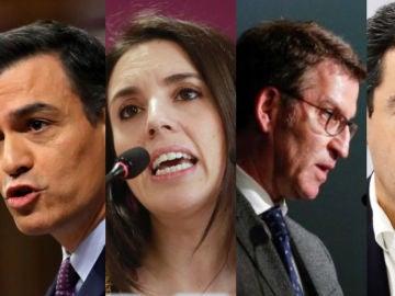 Imagen de Pedro Sánchez, Irene Montero, Alberto Núñez Feijóo y Juanma Moreno