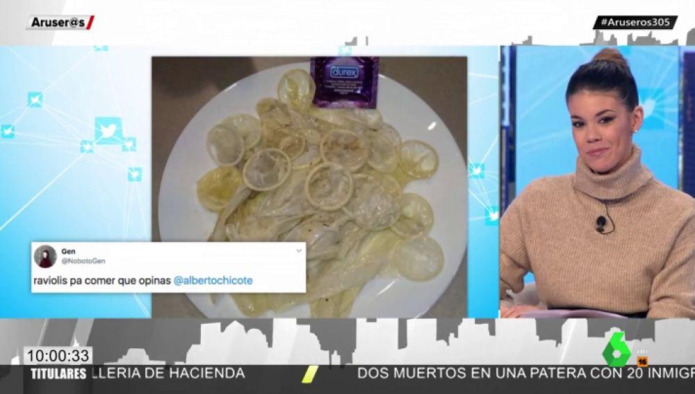 La ingeniosa respuesta de Alberto a un usuario que intentó vacilarle con un plato hecho de preservativos