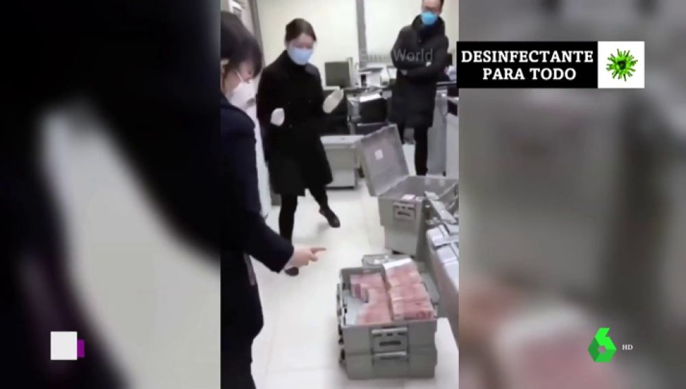 Billetes desinfectados en China