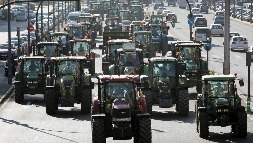 Multitudinaria tractorada en Valencia