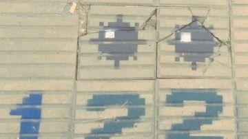 Imagen de las baldosas pintadas con el juego del 'Buscaminas'.