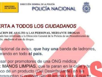 Imagen del bulo publicado por la Policía Nacional.