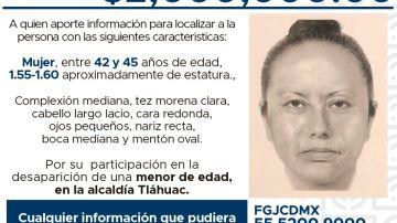 El retrato robot de la mujer que secuestró a Fátima, la niña que fue violada y asesinada en México
