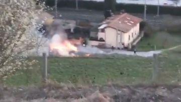 Imagen del lugar donde se ha estrellado la avioneta