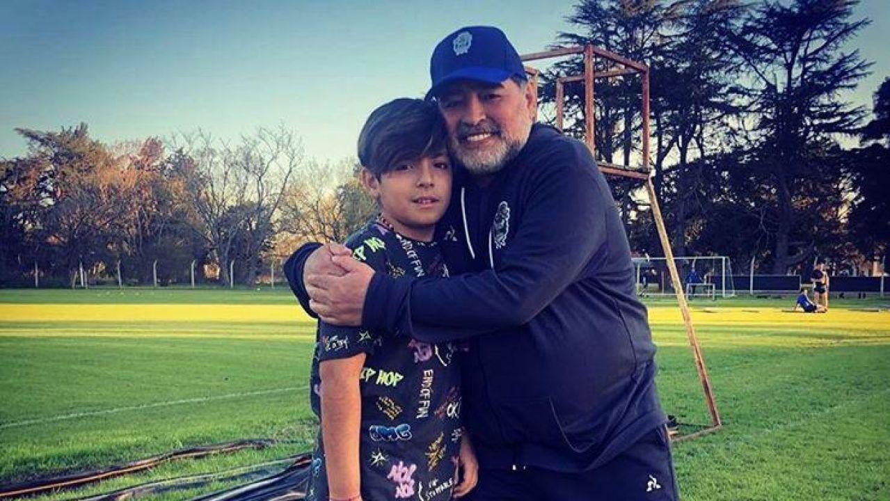 Diego Maradona y su nieto Benjamín Agüero