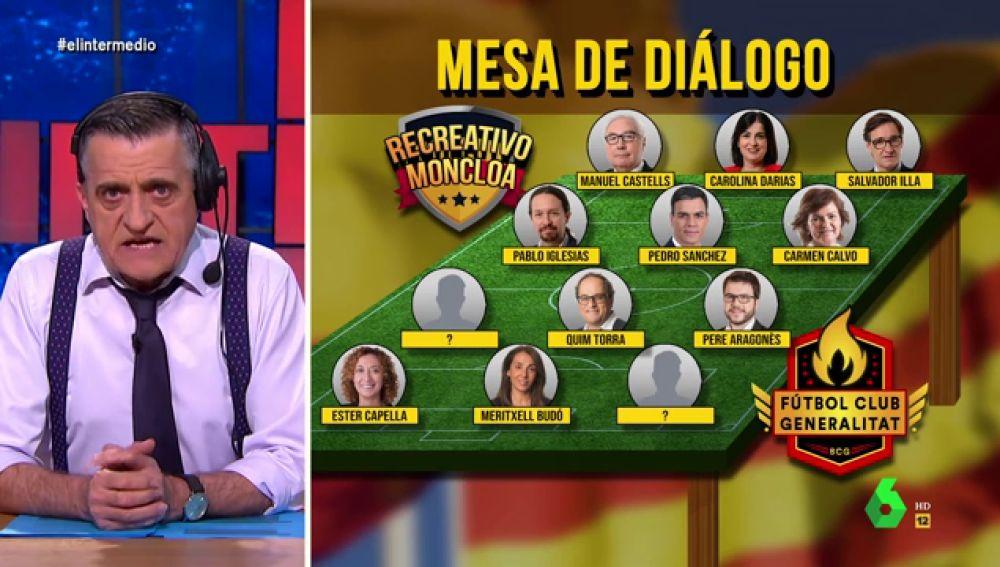 """La 'alineación' del 'Recreativo Moncloa' VS. 'F.C. Generalitat' en la mesa de diálogo: """"'Pablenin Iglesias', en el extremo izquierdo"""""""