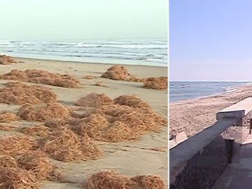 La playa del Perelló, antes y después de sufrir la borrasca  'Gloria'