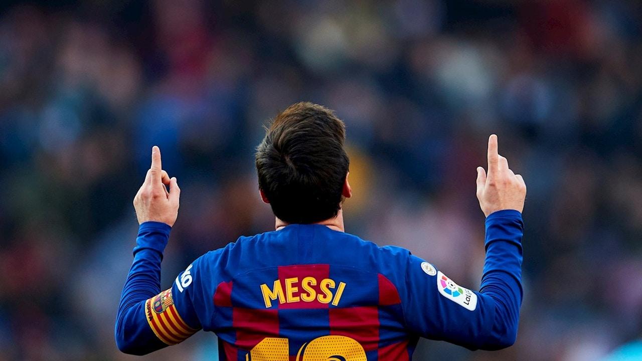 Leo Messi tras marcar un gol con el Barcelona