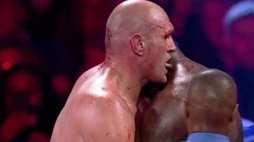 Tyson Fury tratando de lamer la sangre de Deontar Wilder