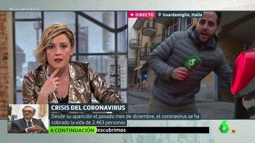 Obligan a un periodista de laSexta a abandonar en directo un pueblo italiano declarado como 'zona roja' por el coronavirus