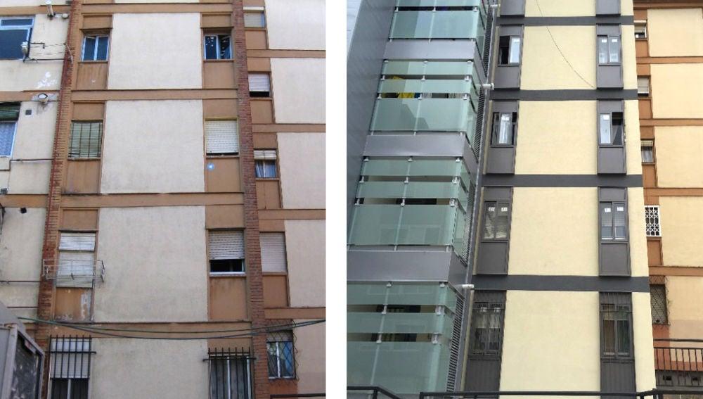 Edificio de viviendas rehabilitado. Fachada principal norte. Original (izquierda) Rehabilitado (derecha). Autor: Sheila Varela Luján.
