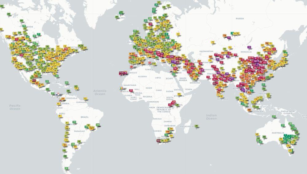 Mapa mundial de la calidad del aire