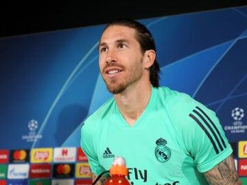 Sergio Ramos durante la rueda de prensa previa al enfrentamiento contra el Manchester City