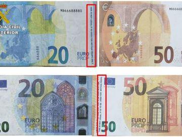 Billetes falsos utilizados por el menor detenido en Olvera