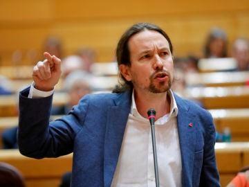 Pablo Iglesias, durante una sesión de control al gobierno en el Senado