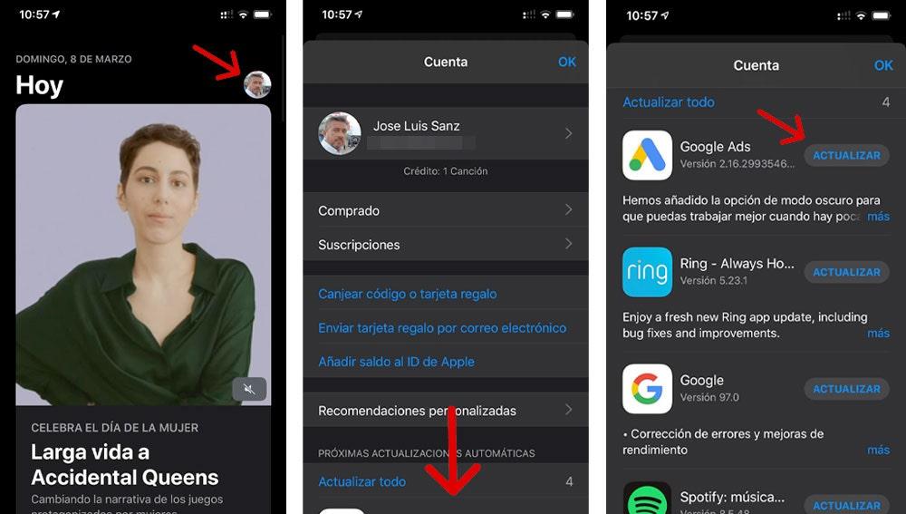 Dónde actualizar las 'apps' de tu iPhone con iOS 13