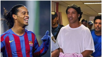 Ronaldinho, en el Barça; Ronaldinho, esposado