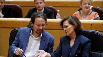 Pablo Iglesias y Carmen Calvo en el Congreso