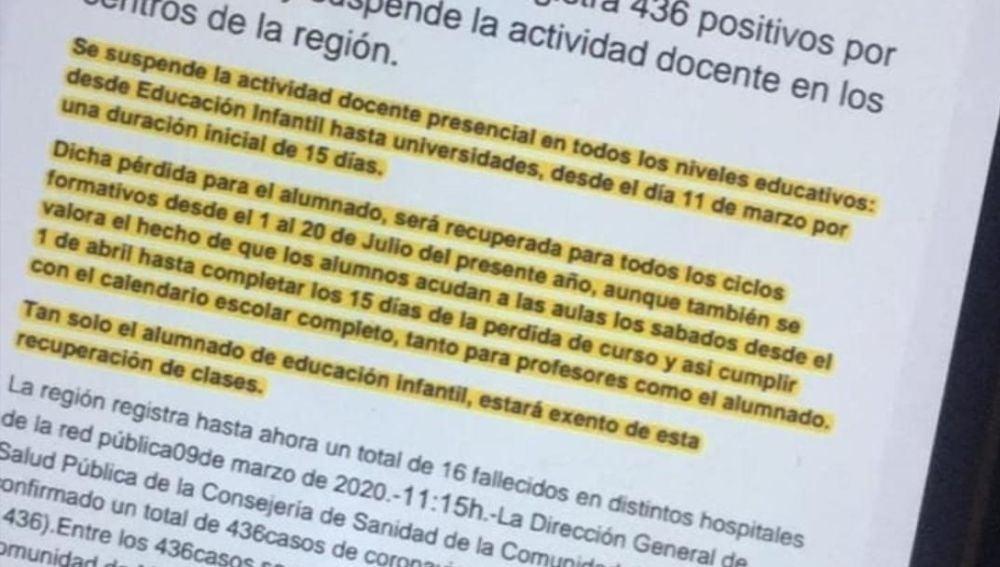 Falsa nota de prensa de la Comunidad de Madrid sobre el coronavirus