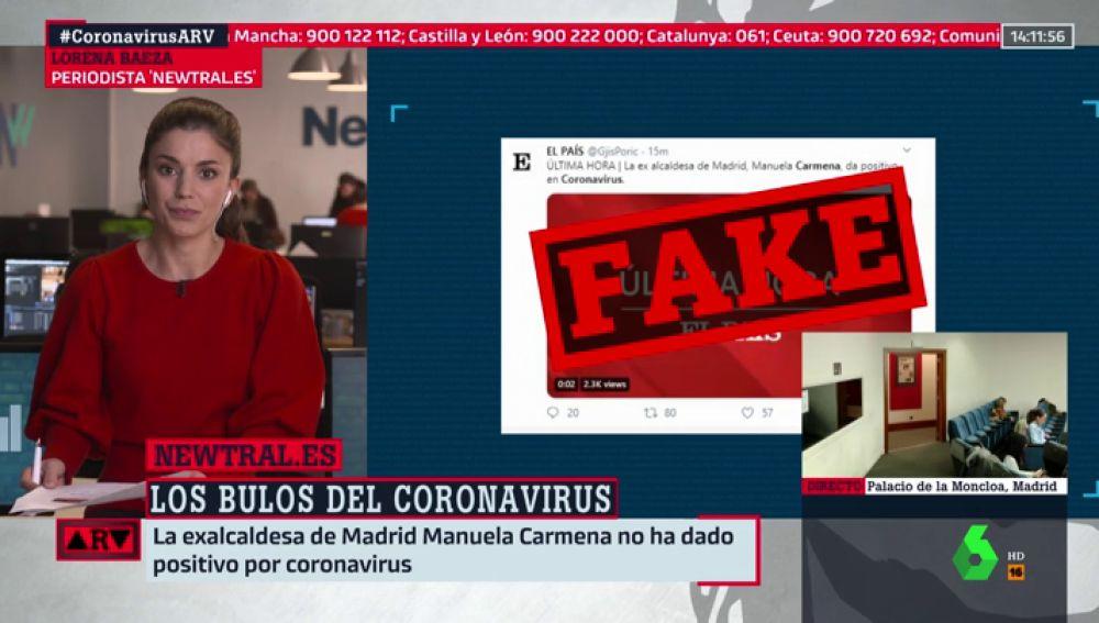 El tuit que asegura que Manuela Carmena tiene coronavirus es falso
